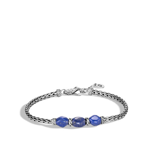 Classic Chain Pull Through Station Bracelet in Silver with Gem, Lapis Lazuli, large