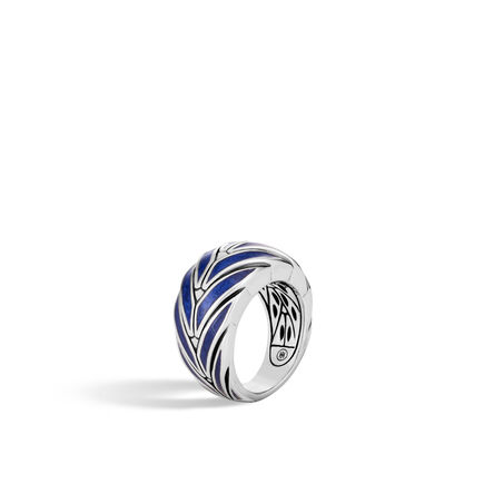 Modern Chain 12.5MM Ring in Silver with Enamel