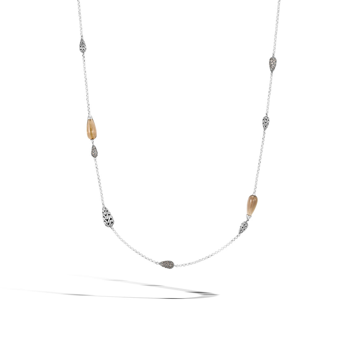 Classic Chain Station Necklace in Silver with Gemstone