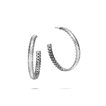 5eaf02e84 Classic Chain Hoop Earring in Hammered Silver