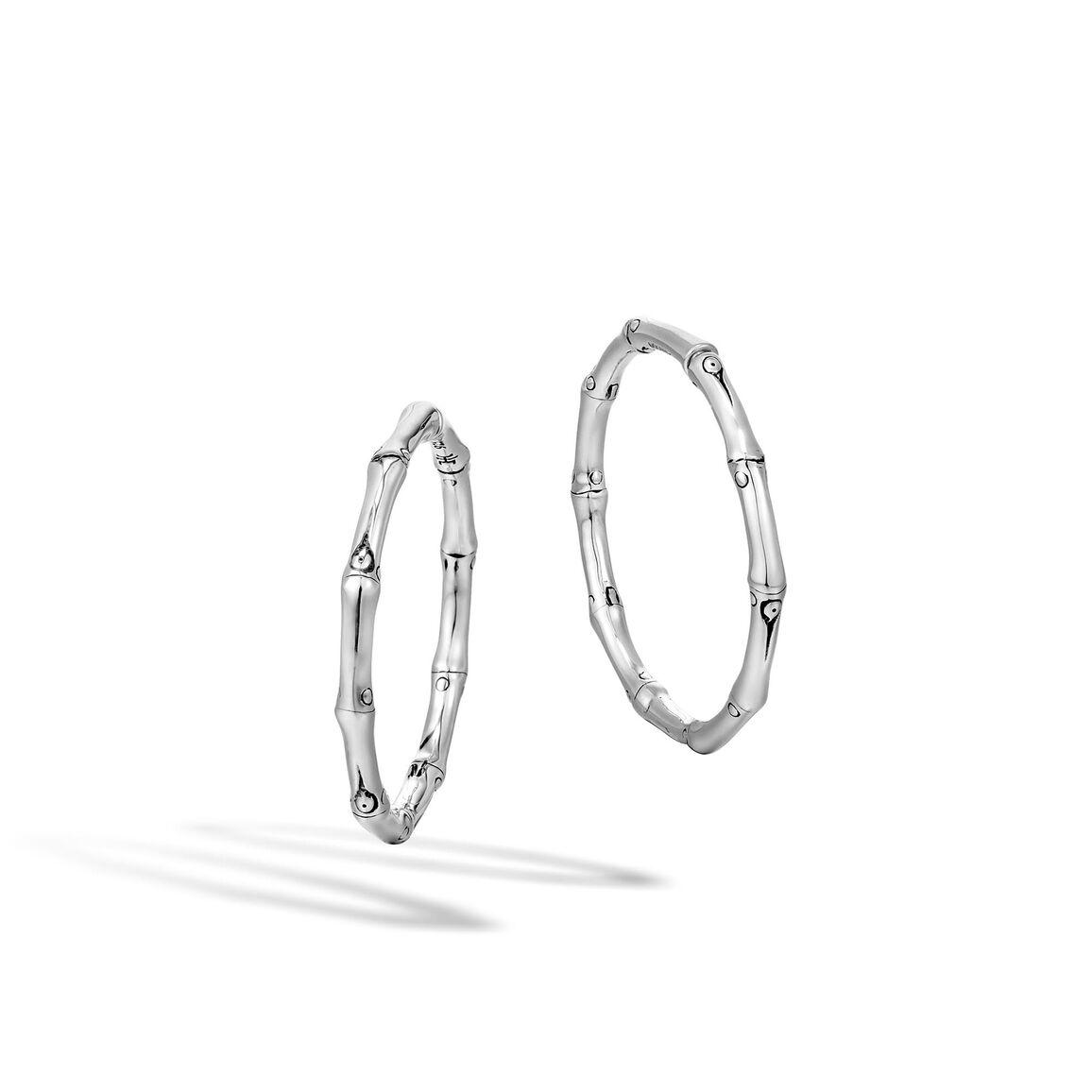 Bamboo Medium Hoop Earring in Silver