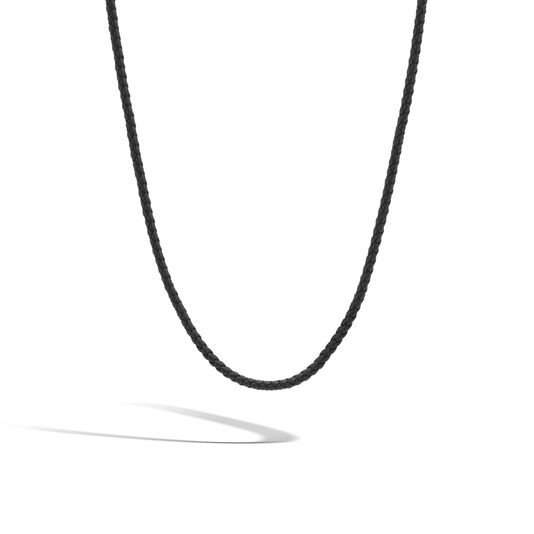 Classic Chain Silver Necklace on 3MM Black  Leather Cord, , large