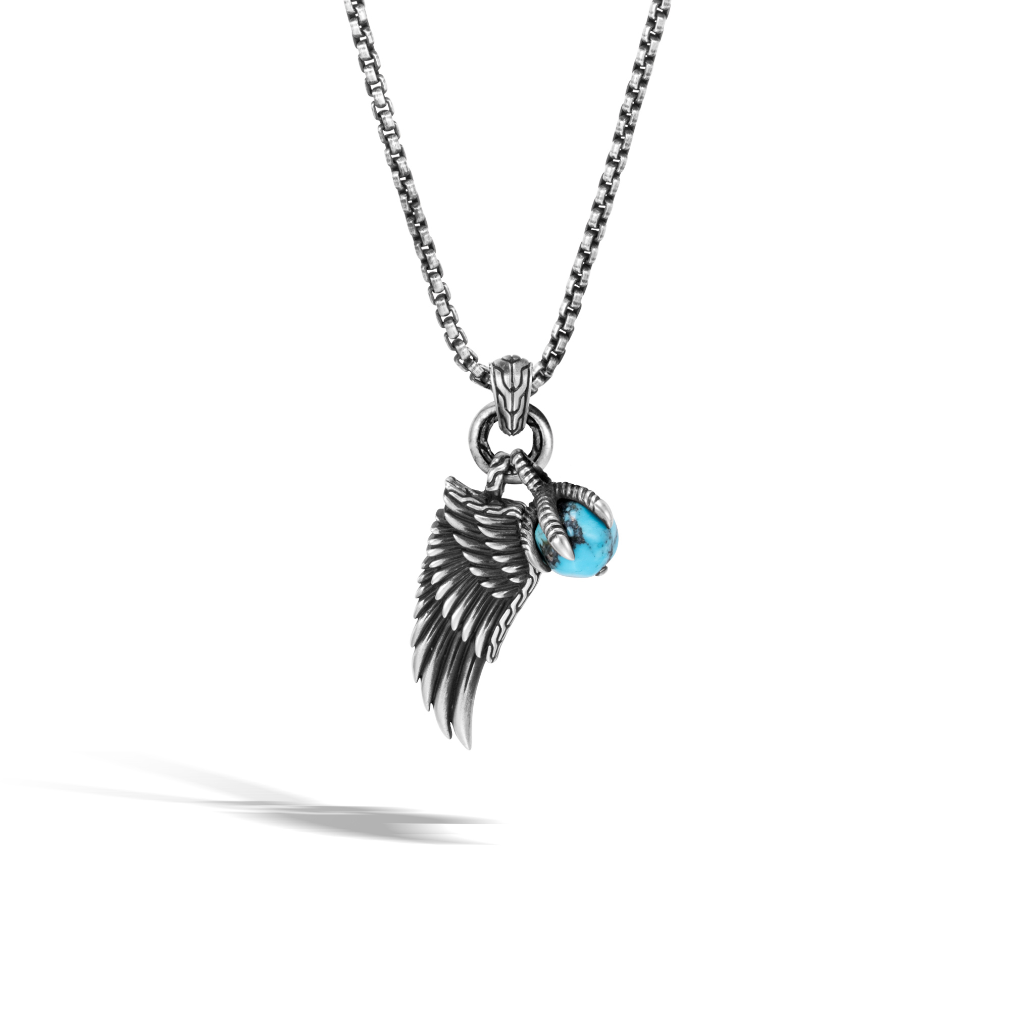 Legends Eagle Wing Pendant Necklace in Silver with Gemstone
