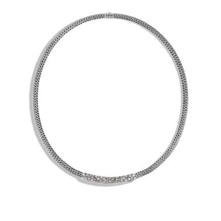 Classic Chain 5MM Station Necklace in Silver with Diamonds