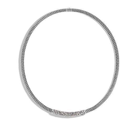 Classic Chain 5MM Station Necklace in Silver with Diamonds, White Diamond, large