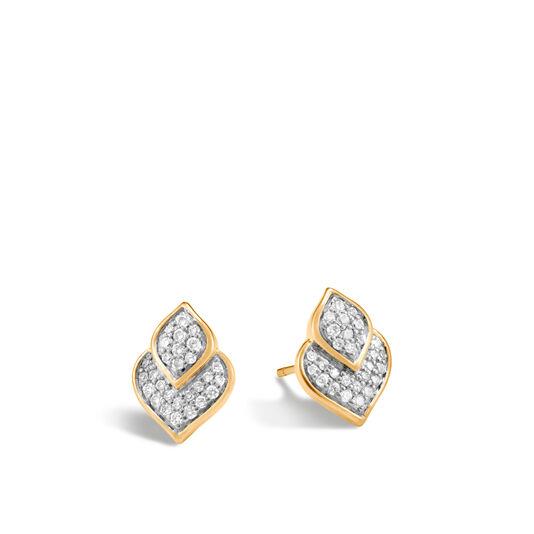 Legends Naga Stud Earring in 18K Gold with Diamonds, White Diamond, large