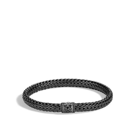 Classic Chain 6.5MM Bracelet in Blackened Silver, Gemstone, Black Sapphire, large