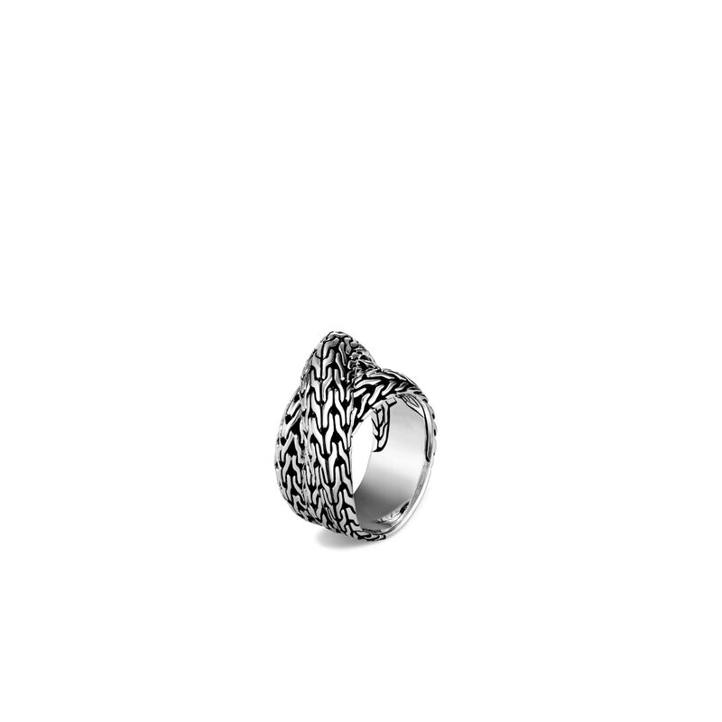 Tiga Classic Chain Overlap Ring in Silver, , large