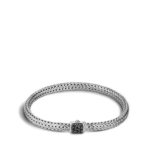 Classic Chain 5MM Bracelet in Silver with Gemstone, Black Sapphire, large