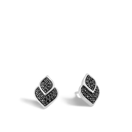 Legends Naga Stud Earring in Silver with Gemstone, Black Spinel, large