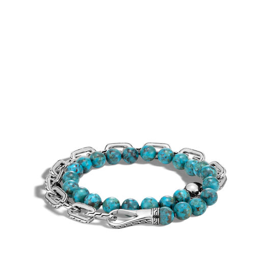 Classic Chain Double Wrap Bracelet in Silver with 8MM Gems, Natural Arizona Turquoise, large