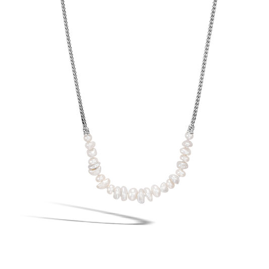 Classic Chain Station Necklace in Silver with Gemstone, White Fresh Water Pearl, large