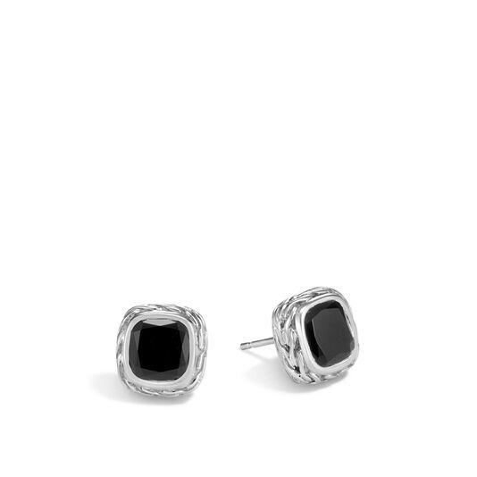 Classic Chain Magic Cut Stud Earring in Silver, 8MM Gemstone, Black Onyx, large