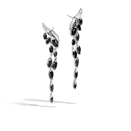 Bamboo Drop Earrings in Silver with Gemstone