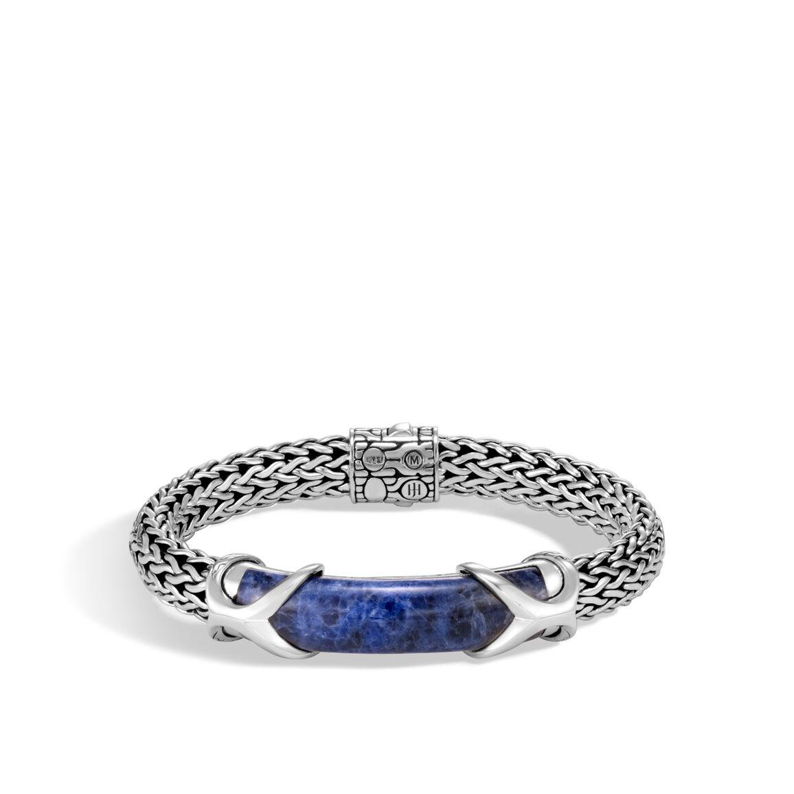 Asli Classic Chain Link 10.5MM Station Bracelet, Silver, Gem