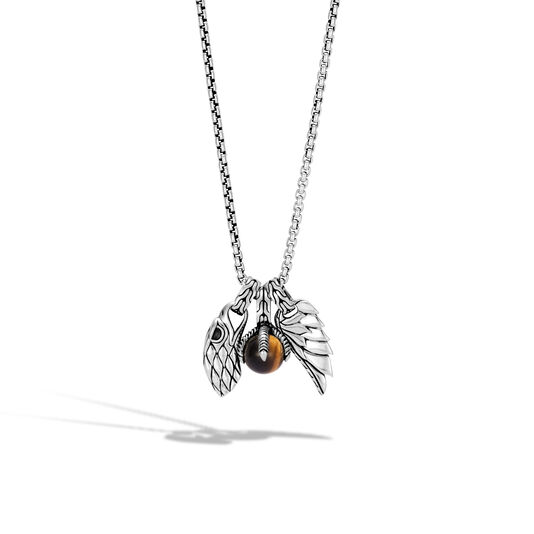 Legends Eagle Charm Necklace in Silver with Gemstone, Brown Tiger Eye, large