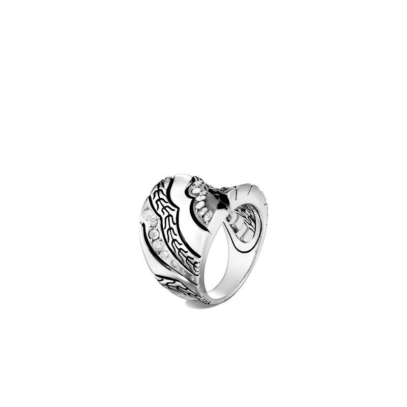 Lahar Saddle Ring in Silver with Diamonds, Grey Diamond, large