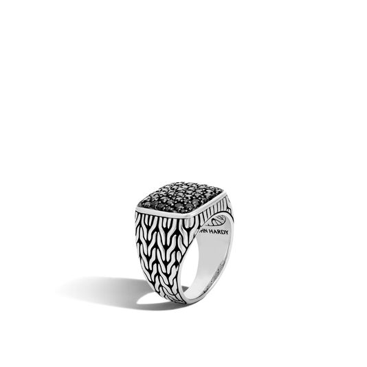 Classic Chain Signet Ring in Silver with Gemstone, Black Sapphire, large