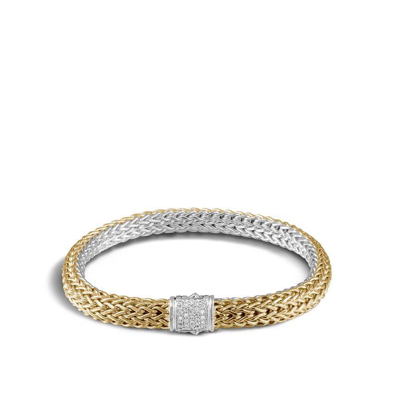 Classic Chain 6.5MM Reversible Bracelet, Silver, 18K, Diamond, White Diamond, large