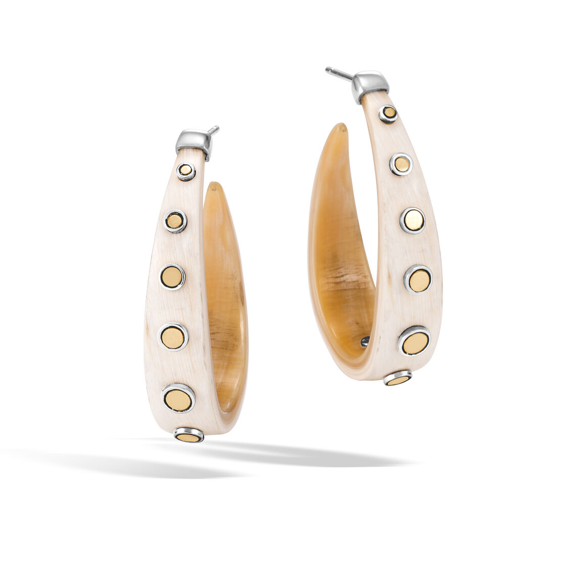 Dot Large Hoop Earring in Silver and 18K Gold with Buffalo Horn