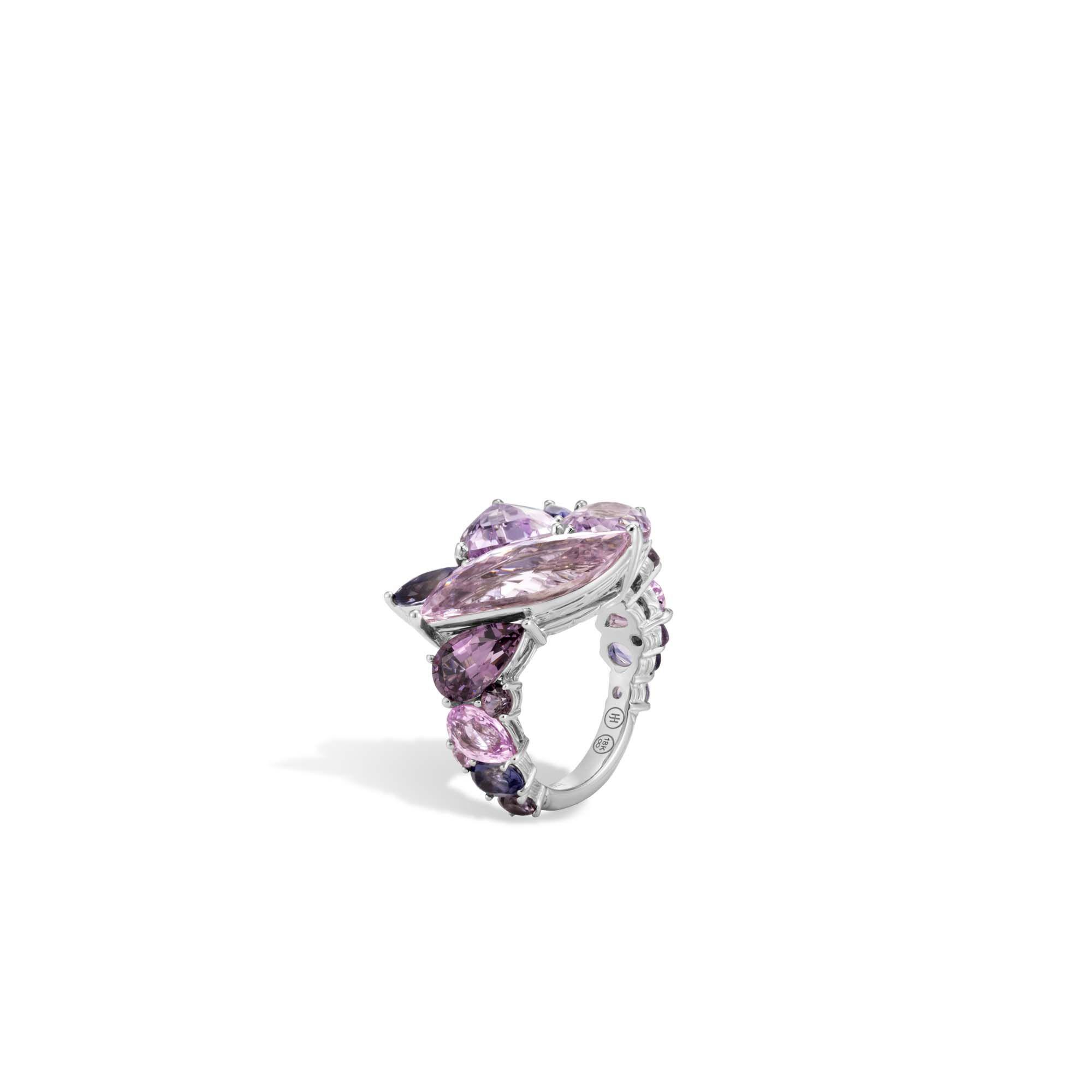 Classic Chain Karangan Senja Ring, Pink Sapphire, large