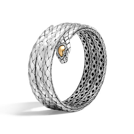 Legends Cobra Triple Coil Bracelet in Silver and 18K Gold