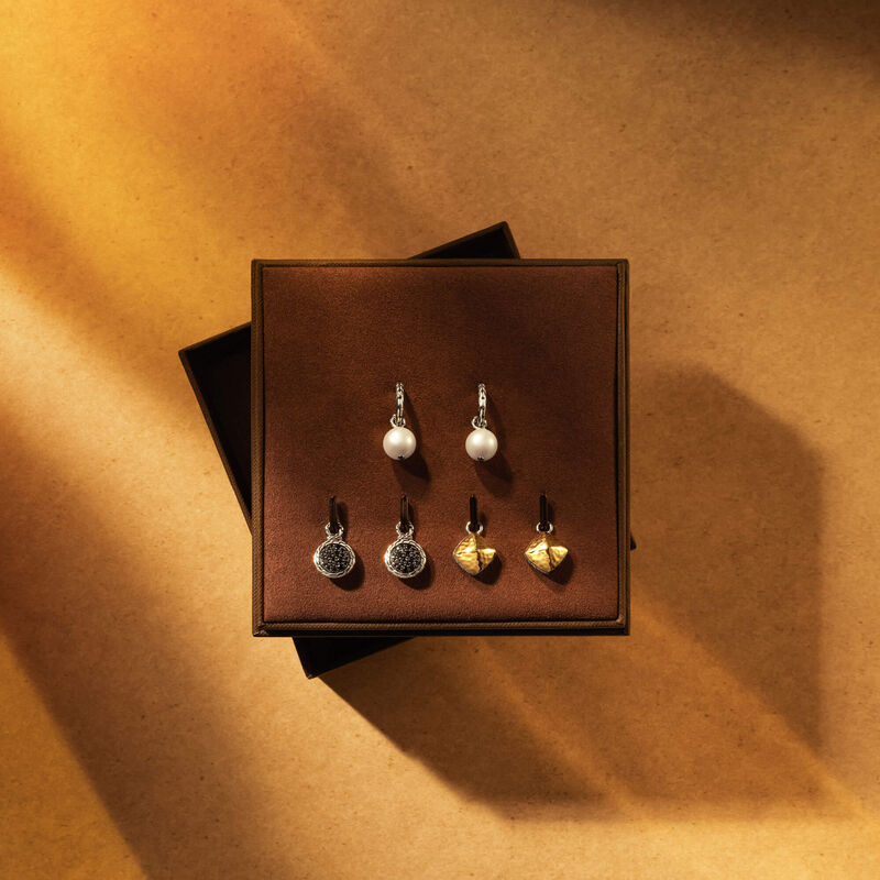 Interchangeable Earrings Gift set, Silver and 18K Gold, Treated Black Sapphire, large