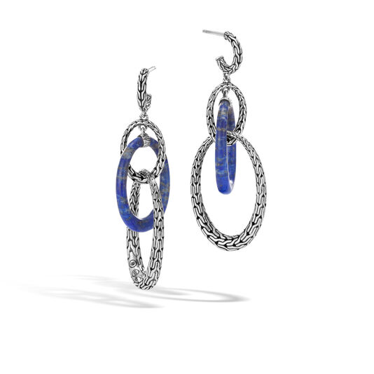 Classic Chain Drop Earring in Silver with Gemstone, Lapis Lazuli, large