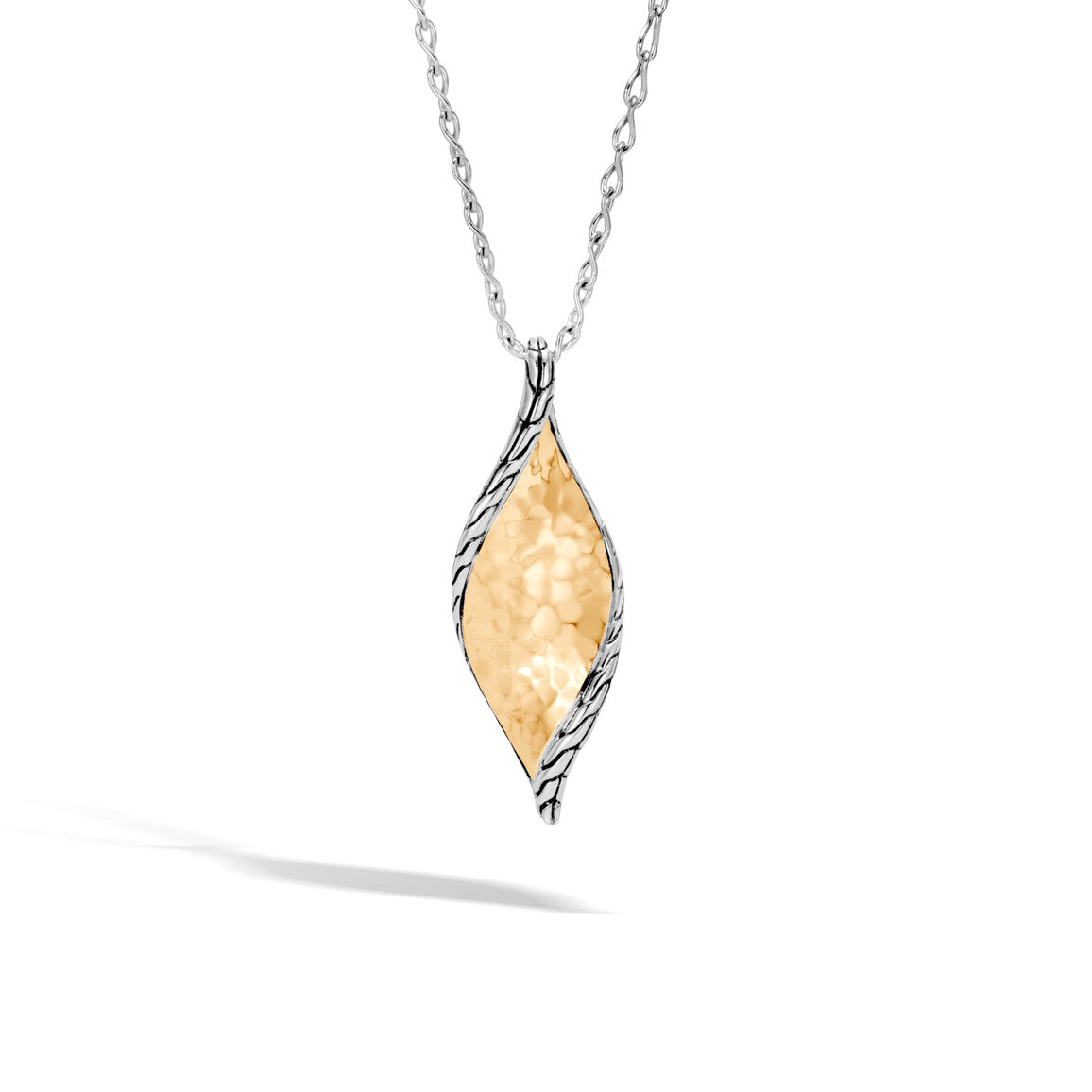 Classic Chain Wave Pendant Necklace, Silver, Hammered 18K