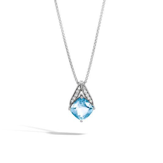 Modern Chain Magic Cut Pendant Necklace, Silver, Gems, Dia, London Blue Topaz, large
