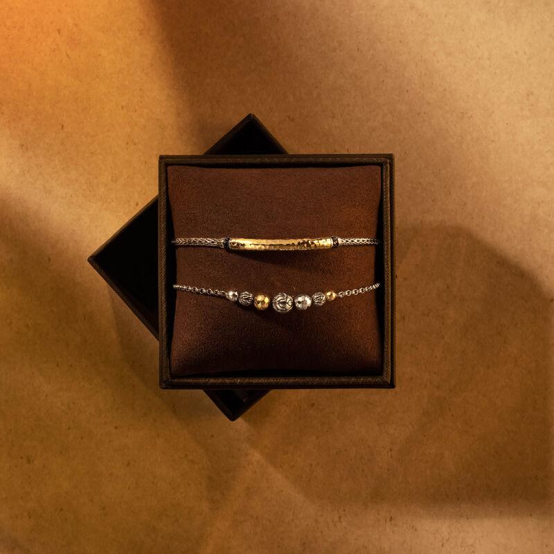 Gift set Bracelet in Hammered 18K Gold, Silver , Black Spinel, large
