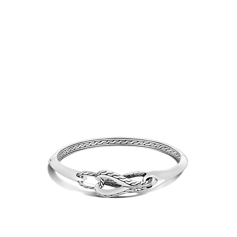 Asli Classic Chain 13.5MM Link Hinged Bangle in Silver, , large