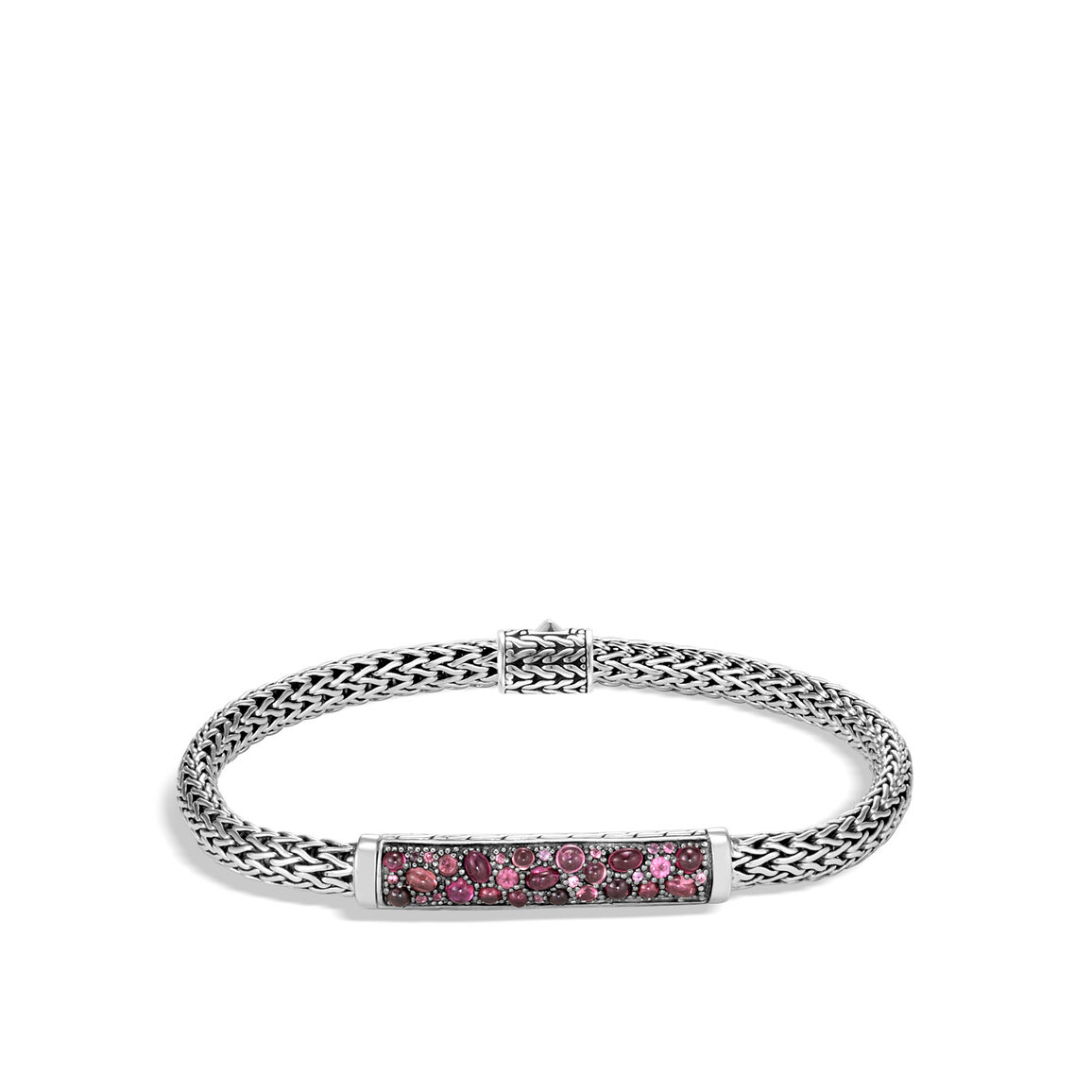 Classic Chain 5MM Station Bracelet in Silver with Gemstone