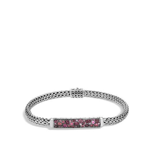 Classic Chain 5MM Station Bracelet in Silver with Gemstone, Pink Tourmaline, large