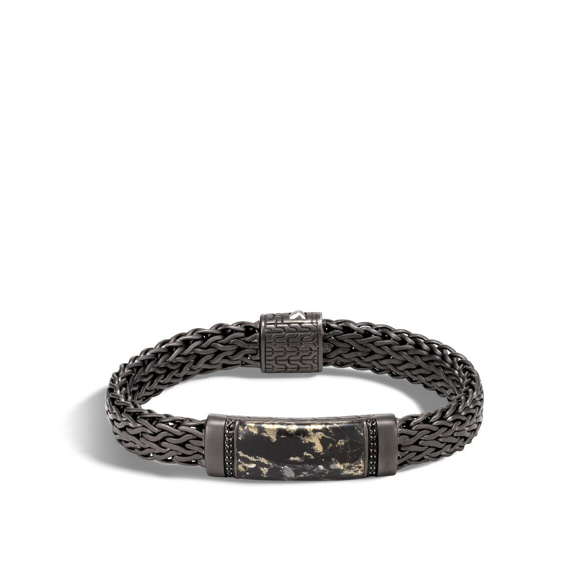Classic Chain 11MM Station Bracelet, Blackened Silver, Gems