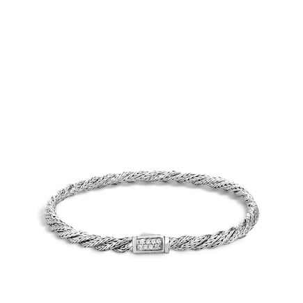 Twisted Chain 4MM Bracelet in Silver with Diamonds