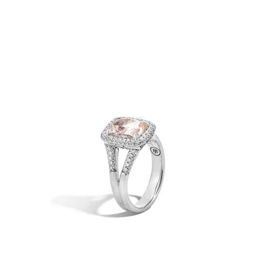Classic Chain Magic Cut Ring, Silver, 10x7MM Gems, Diamonds, Rutilated Topaz, large