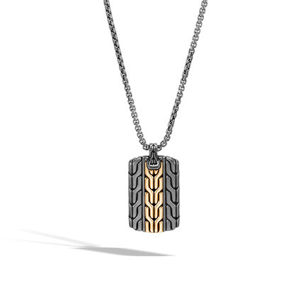 Classic Chain Dog Tag Pendant in Blacked Silver and 18K Gold