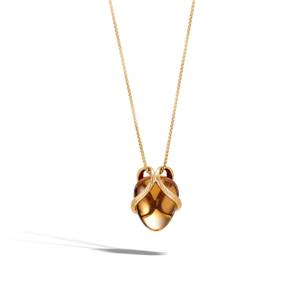Classic Chain Pendant Necklace In 18K Gold with 17MM Gemstone
