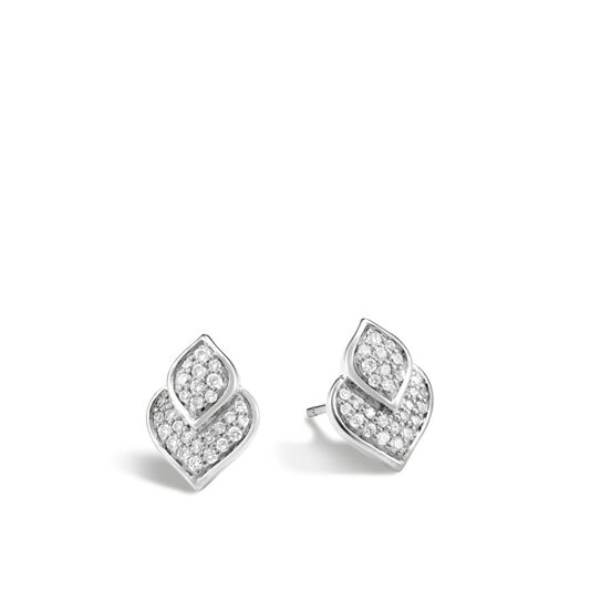 Legends Naga Stud Earring in Silver with Diamonds, White Diamond, large