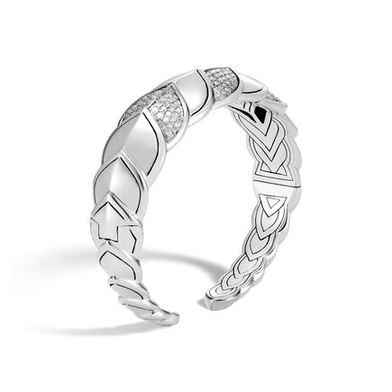 Legends Naga 18.5MM Cuff in Silver with Diamonds