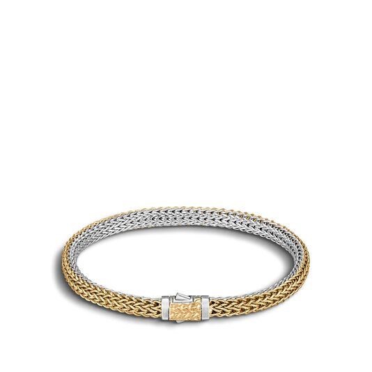 Clic Chain 5mm Reversible Bracelet Silver 18k Gold Large
