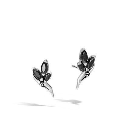Bamboo 17x12MM Stud Earrings in Silver with Gemstone