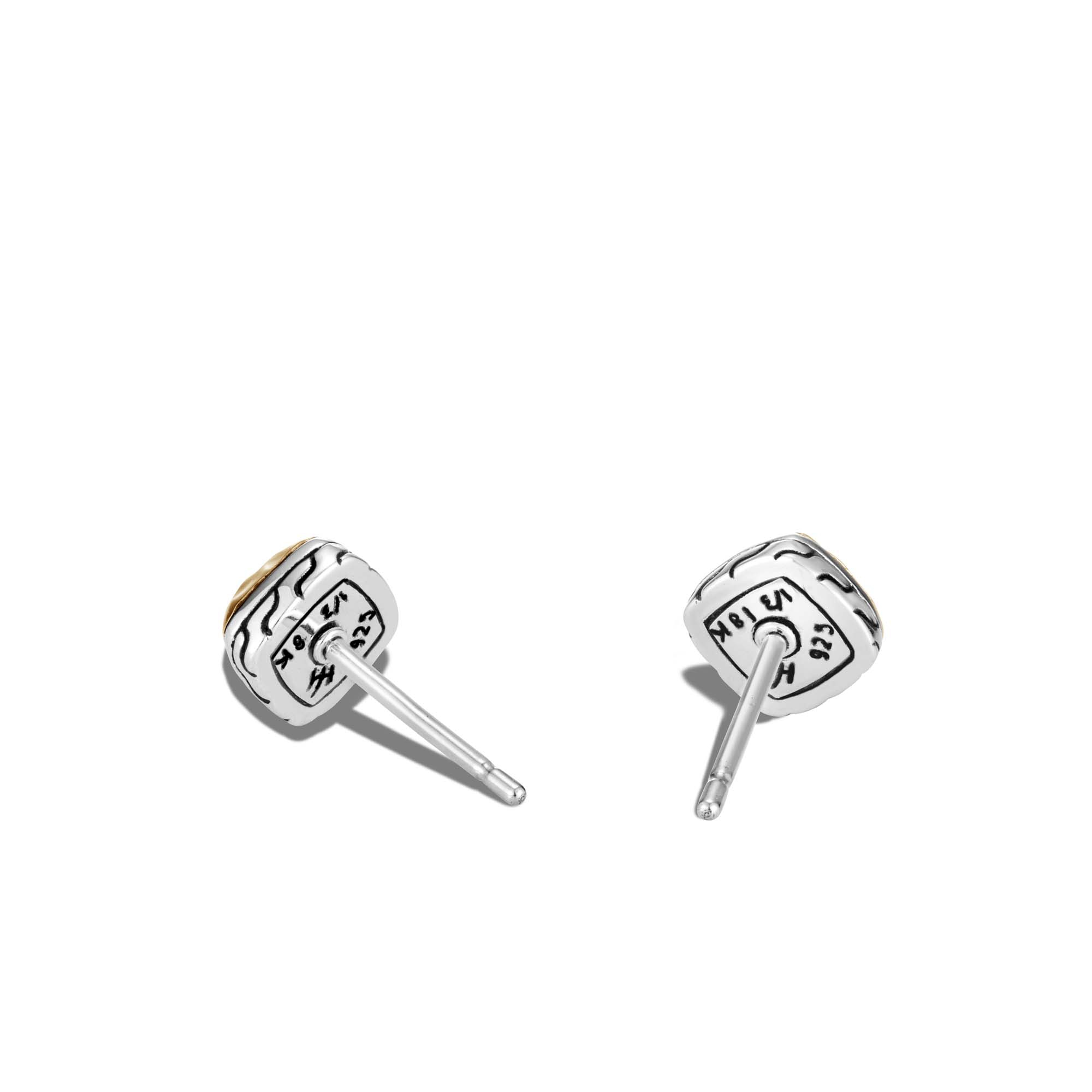 Classic Chain Sugarloaf Stud Earring in Silver and 18K Gold