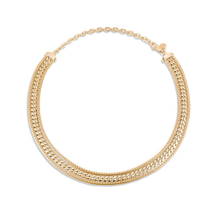 Classic Chain Triple Row Necklace in 18K Gold