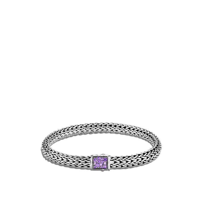 Classic Chain Reversible 6.5MM Bracelet in Silver with Diamonds, Amethyst, large