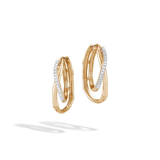 Bamboo Hoop Earring in 18K Gold with Diamonds, White Diamond, large