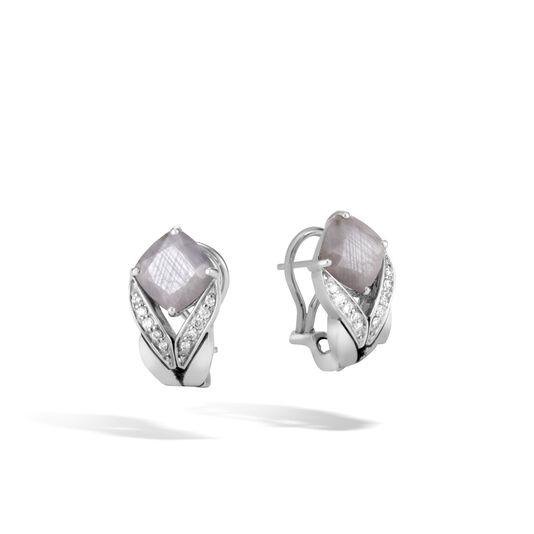Modern Chain Magic Cut Earring in Silver, Gemstone and Dia, Silver Sheen Sapphire, large