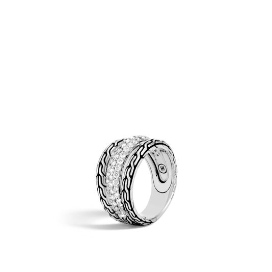 Classic Chain Ring in Silver with Diamonds, White Diamond, large