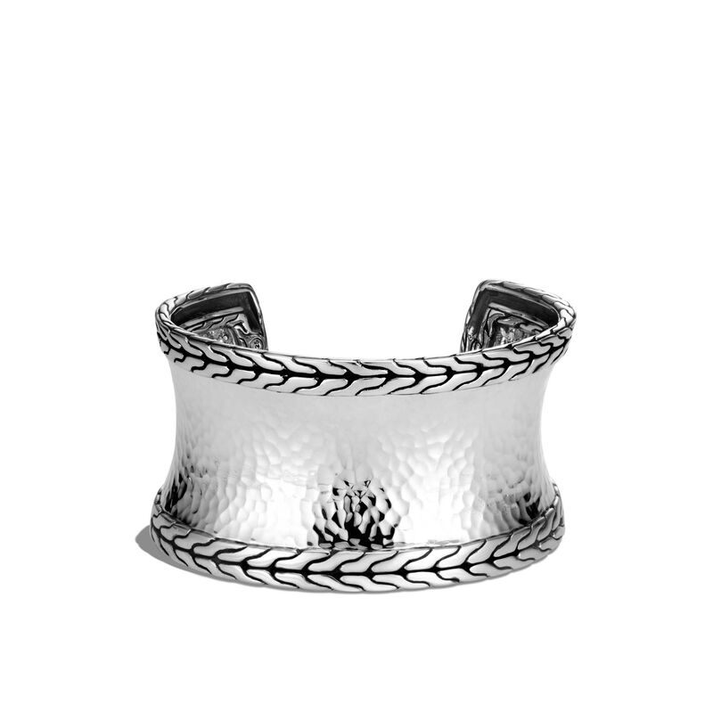Classic Chain 40MM Cuff in Hammered Silver, , large